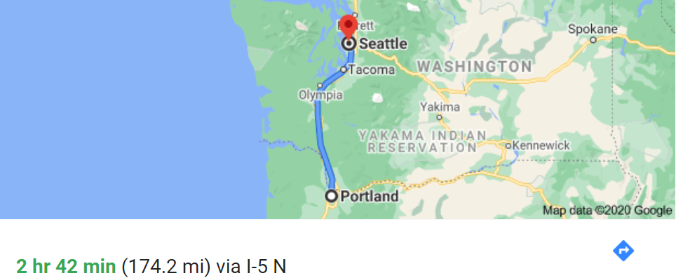 drive map from Portland, OR to Seattle, WA
