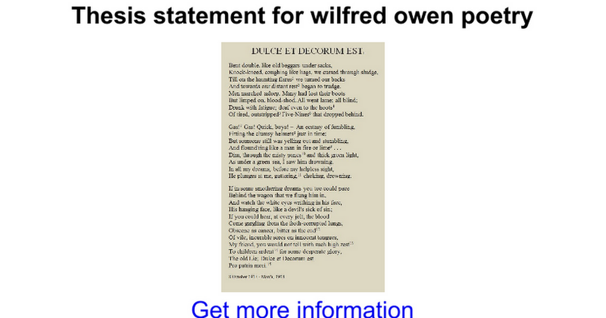 thesis statement for wilfred owen poetry google docs