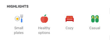 google my business for restaurants highlights