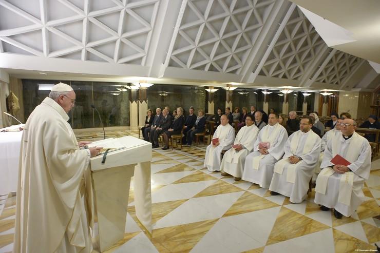 Pope Francis celebrates Mass in Santa Marta