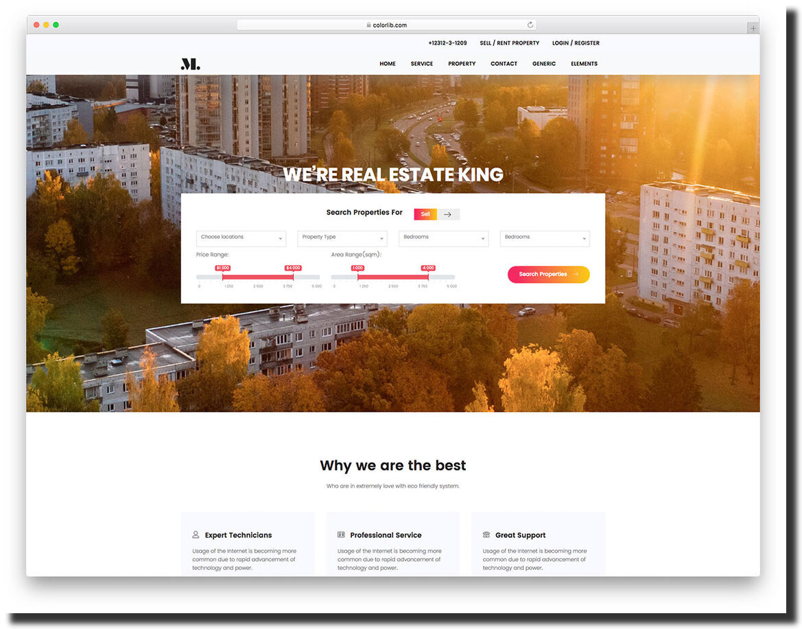 Real Estate colorful website template