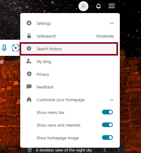 Clear Cache Files from Bing