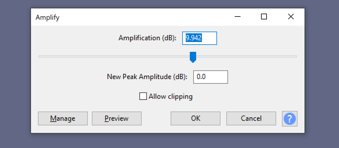 Amplify message in Audacity