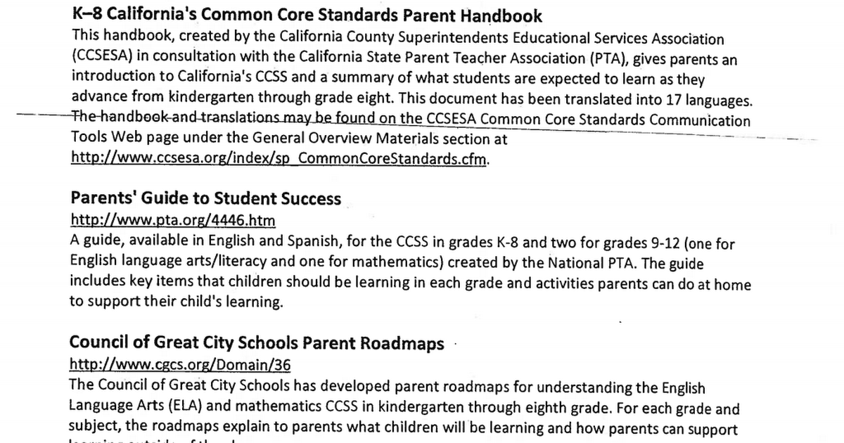 common core standards as a roadmap