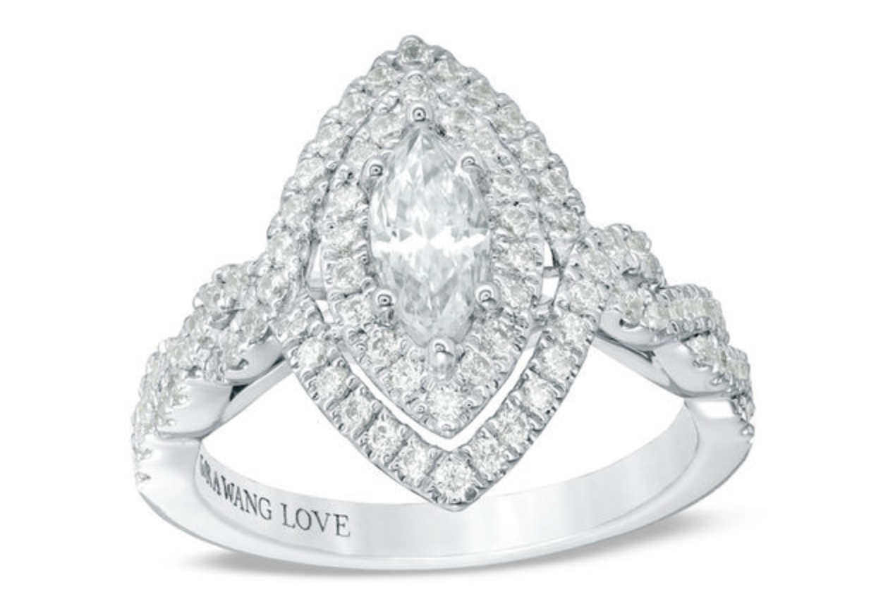 marquise diamond double frame twist ring