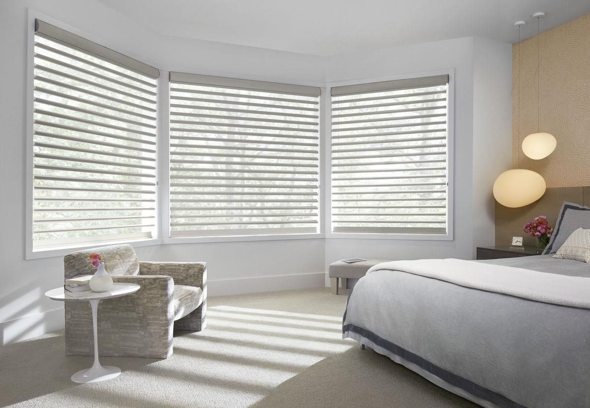 Bedroom Window Treatment Ideas with Silhouette Shades