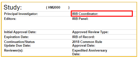 This is a screen shot of the RAMS-IRB system. It shows the home page for a study. In the upper right corner, the IRB Coordinator is listed. This field is highlighted with a red outline to draw attention to it.