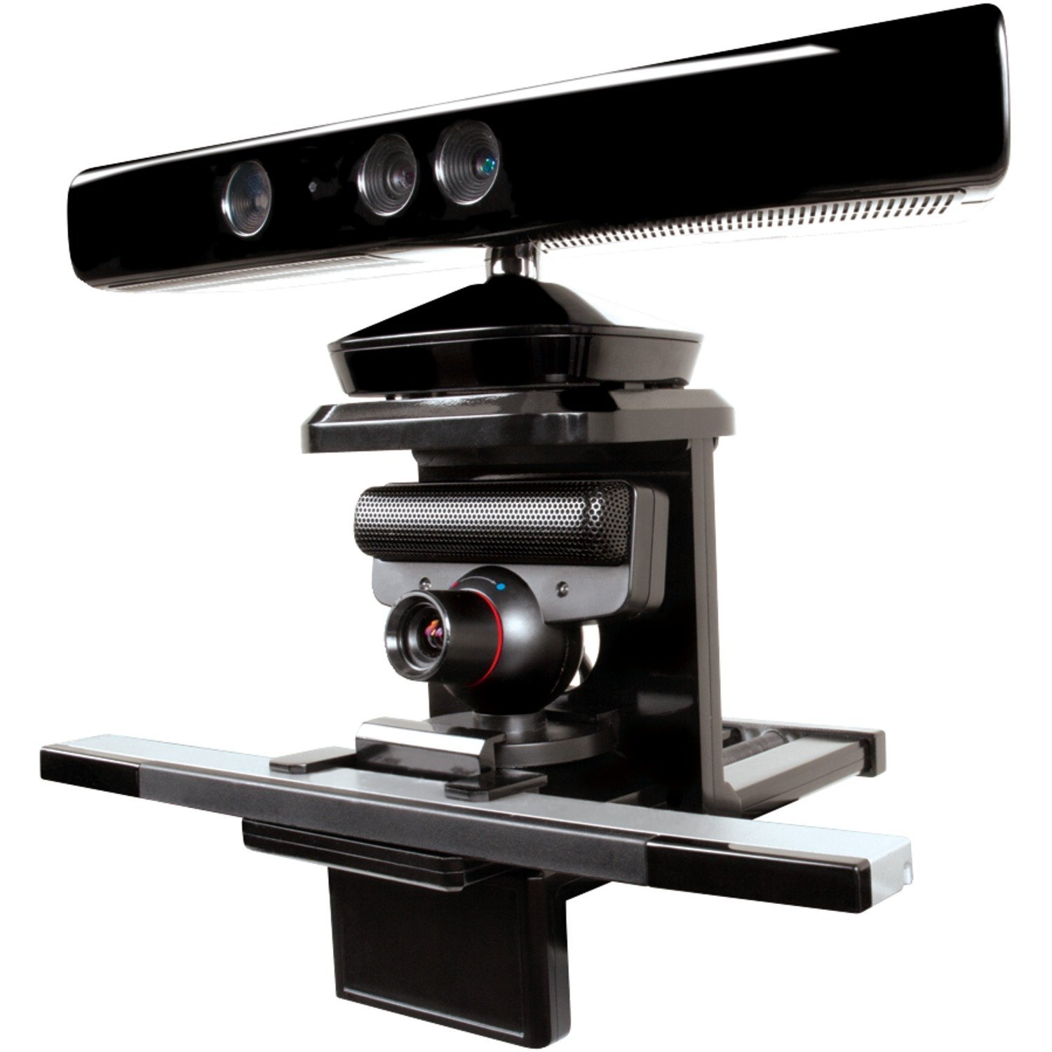 Xbox Kinect, Playstation Eye, and Wii Sensor on one mount