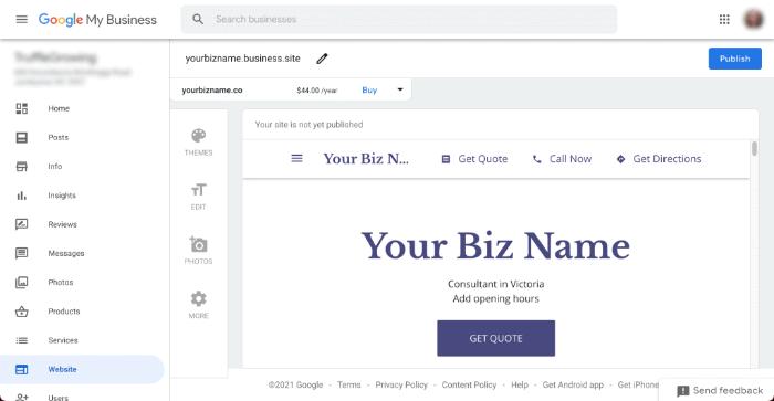 Free Google website - Google my business