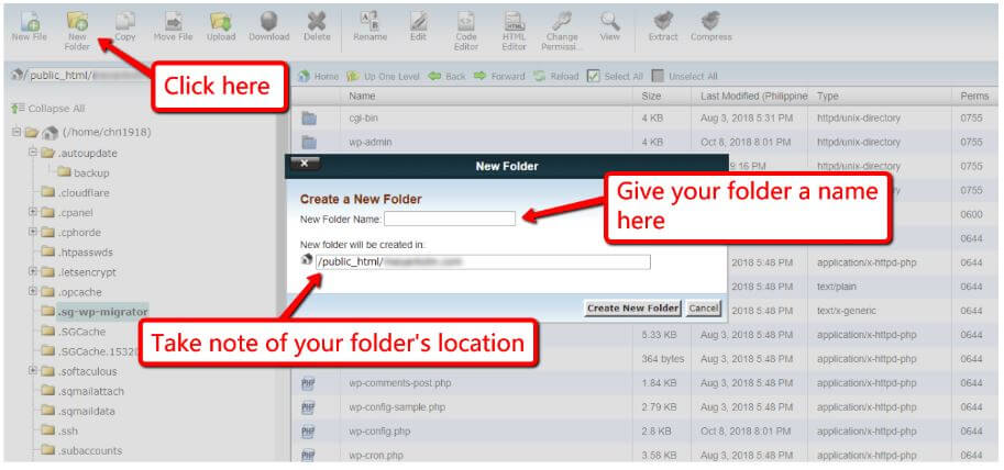 Create a New Folder in your FTP Account