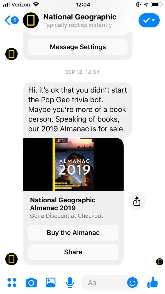 popular chatbots nat geo bot