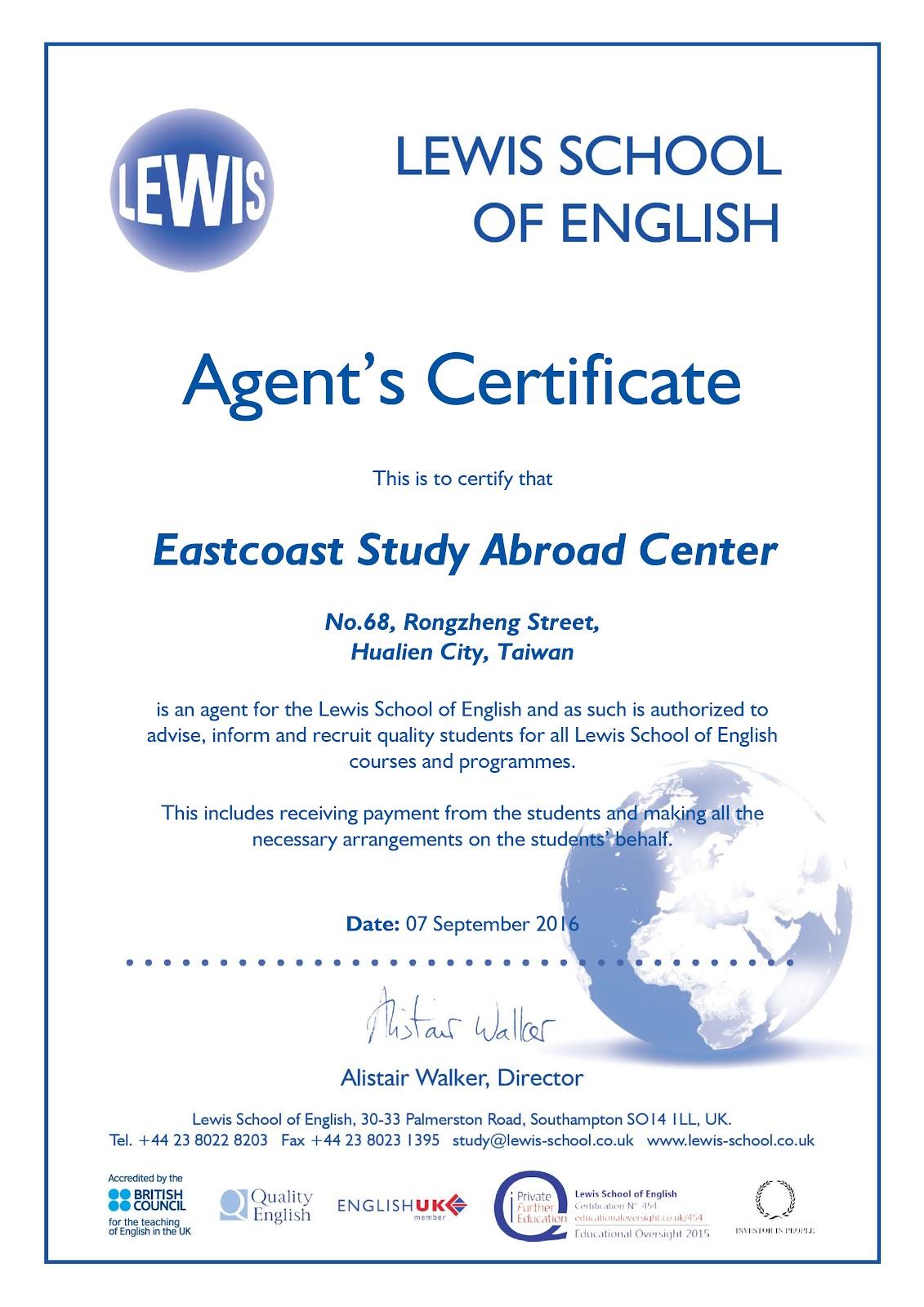 Lewis Agent Certificate.jpg