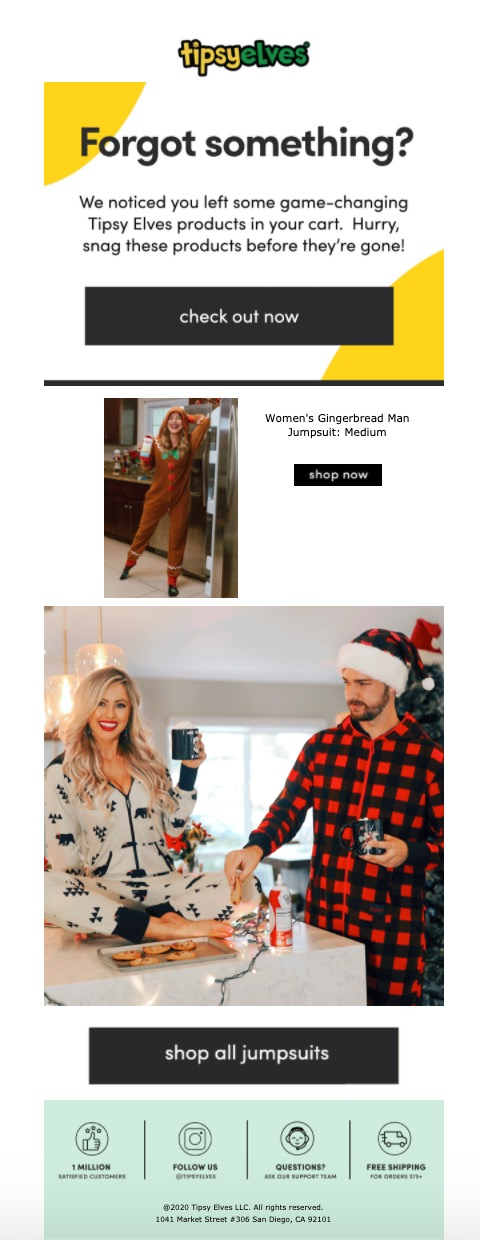 Tipsy Elves abandoned cart email example