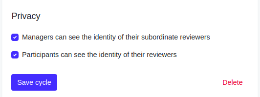 Screenshot privacy settings for 360 reviews
