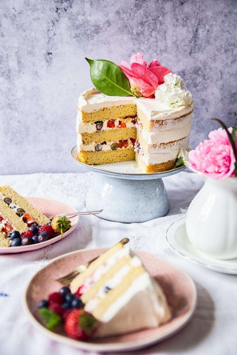 Lemon Summer Berry Cake