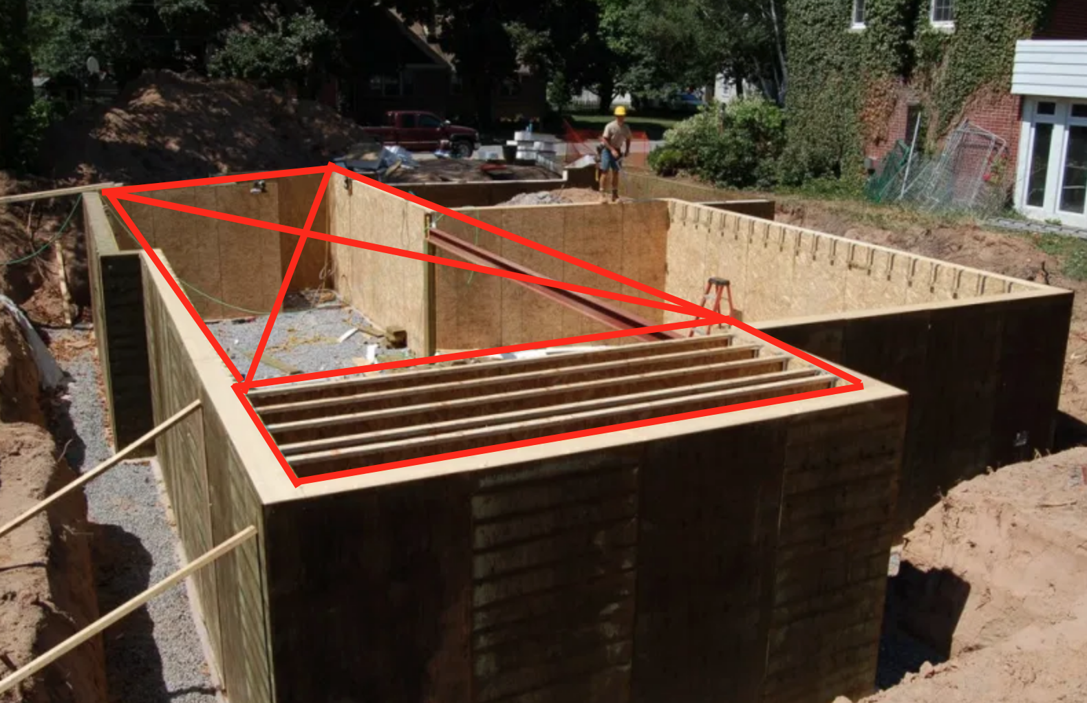 using house dimensions to find load bearing walls