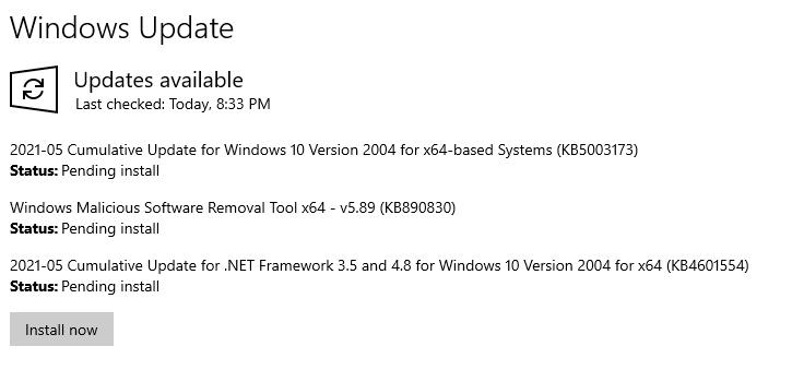 Check list of updates pending in Windows Update Menu