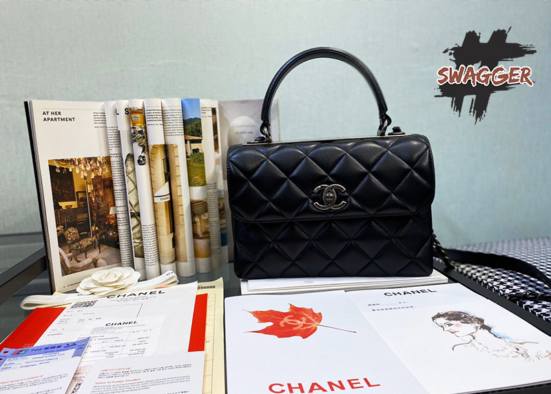 Chanel bag small Flap Bag With Top Handle Like Authentic được làm từ chất liệu da cao cấp