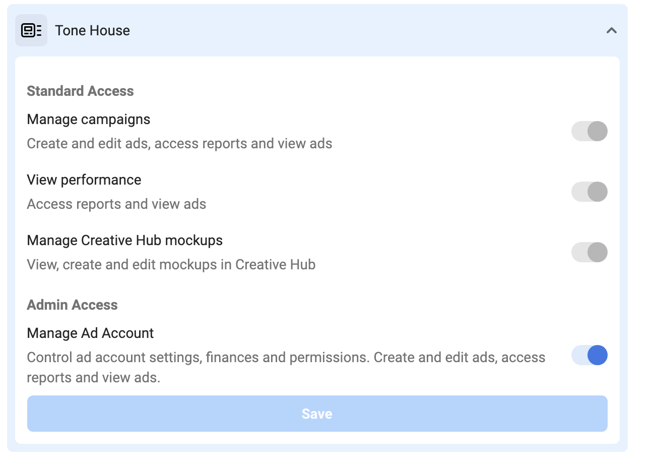 Example Client Tone House Facebook Business Manager Admin Access Selected