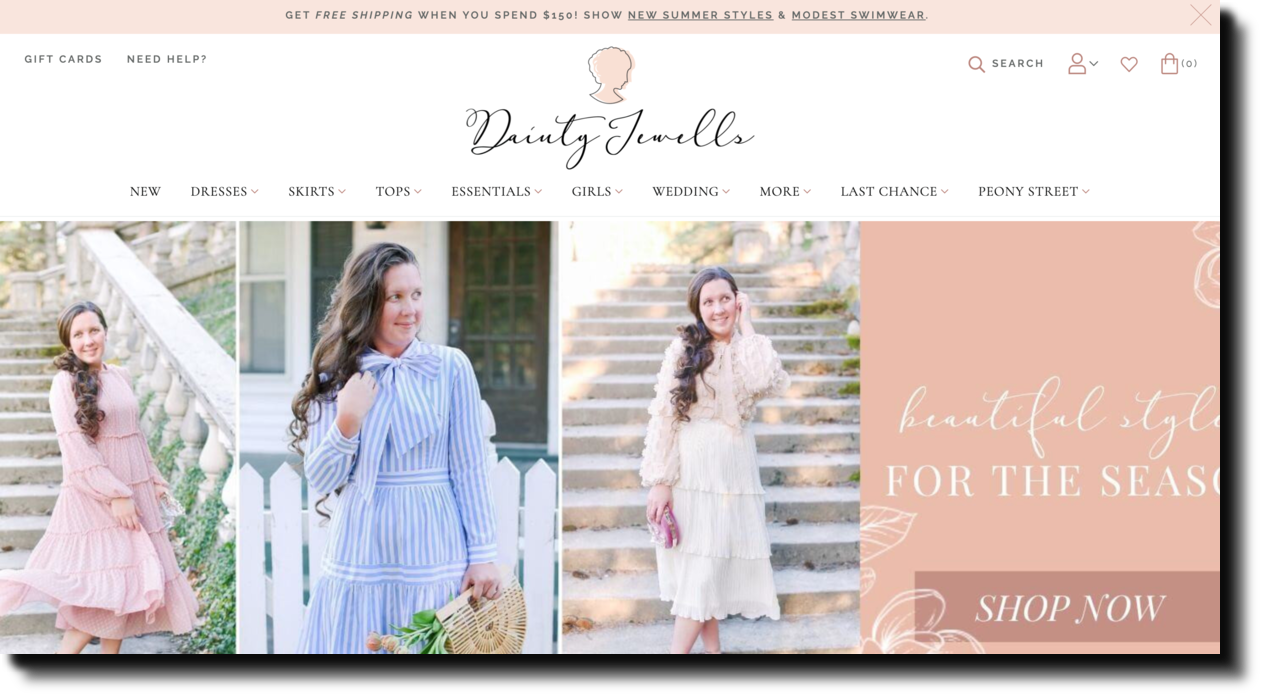 Dainty Jewell's brand website screenshot Ecommerce Website Designs