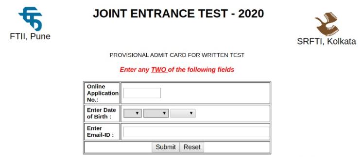 FTII JET 2021 Admit Card
