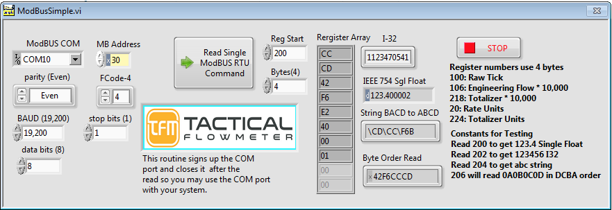 ModBus and USB Serial Terminal Instructions  – Tactical Flow