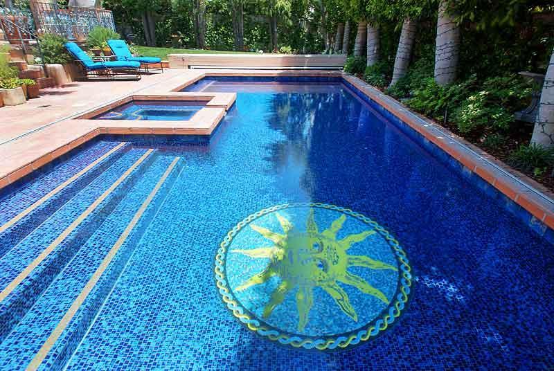 Sun Pool Celestial Mosaic by Mozaico