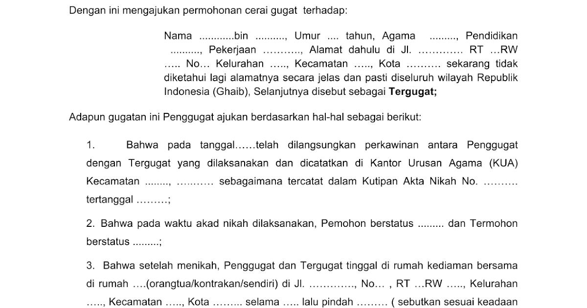 Contoh Surat Tuntutan Perceraian