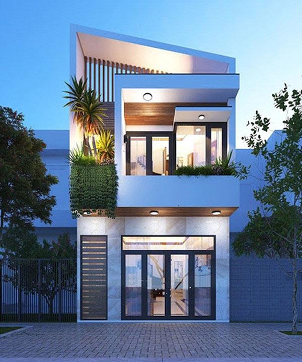 Mẫu nhà 2 tầng mái lệch với diện tích 50m2 giúp khách hàng có không gian sống ấn tượng