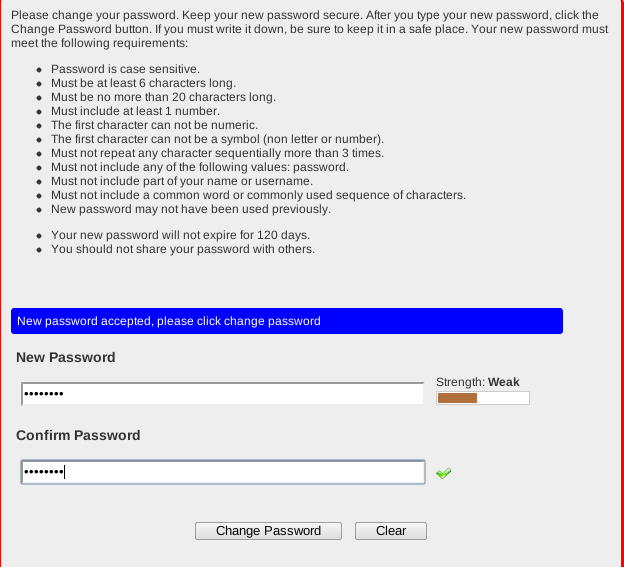 Screen shot: Password rules, enter new password, confirm new password, click change password