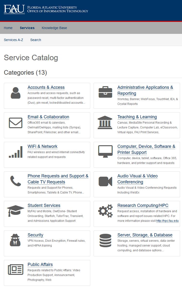 HE Service Catalog Category Comparison List