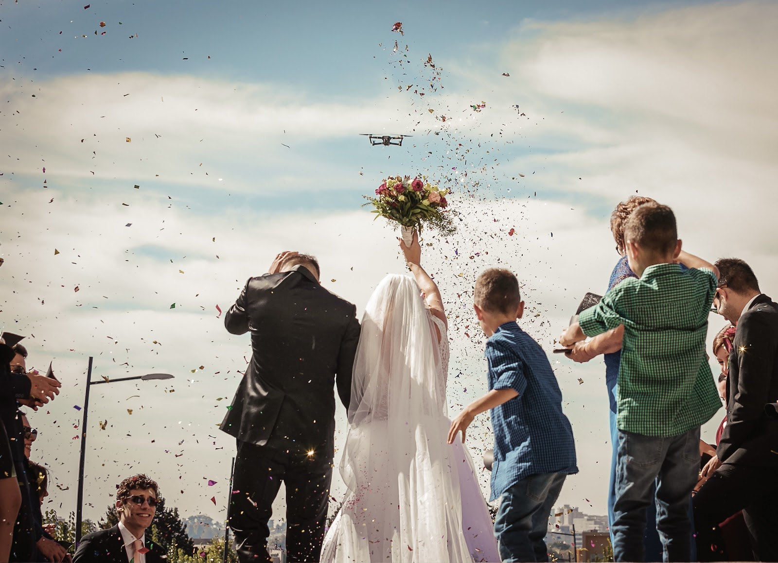 drone being used at a wedding