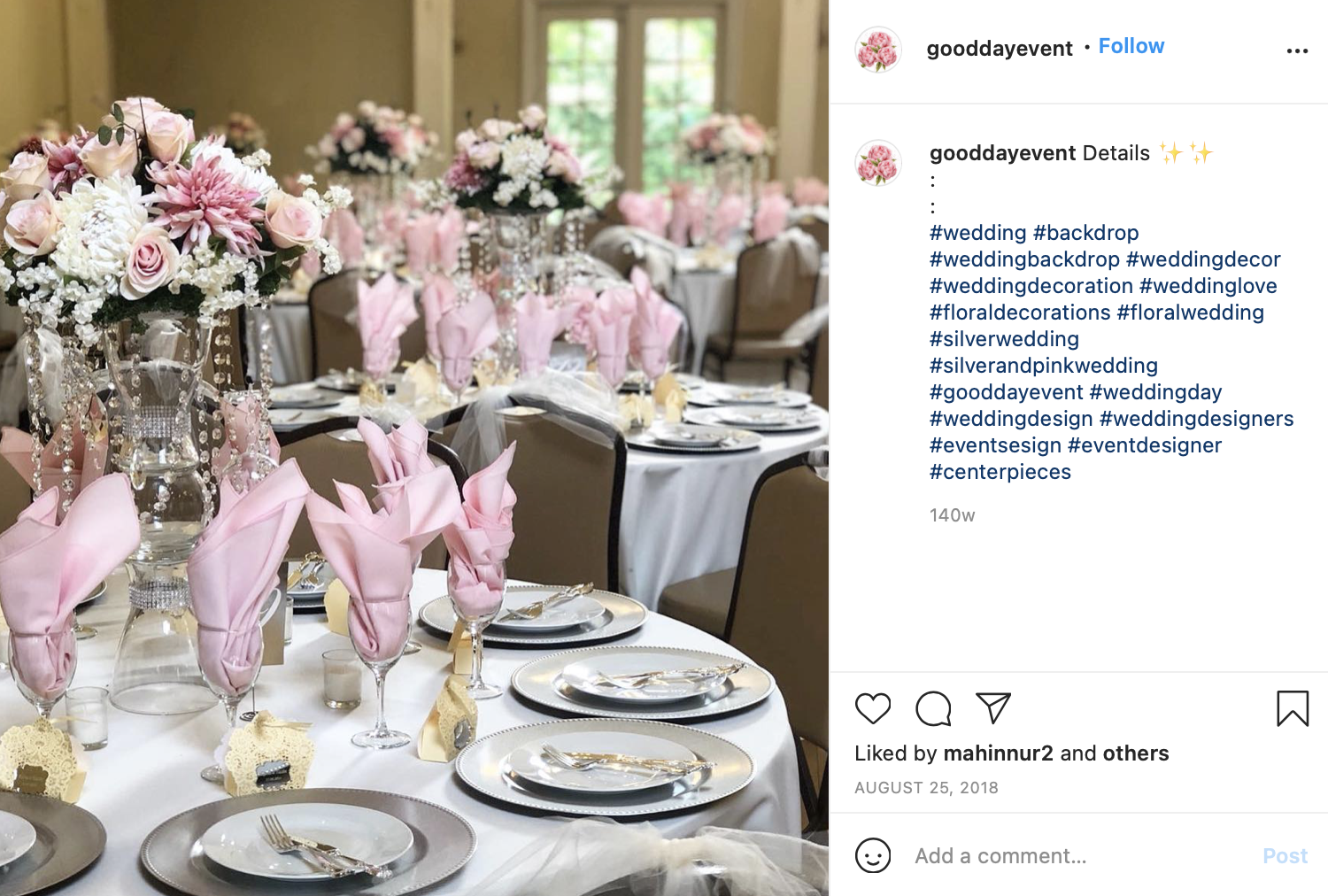 silver and pastel pink wedding color scheme