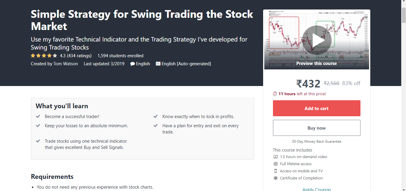 Simple Strategy for Swing Trading the Stock Market