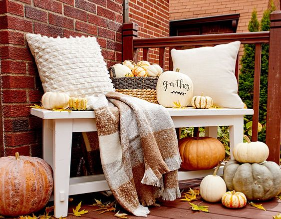 fall decor on bench