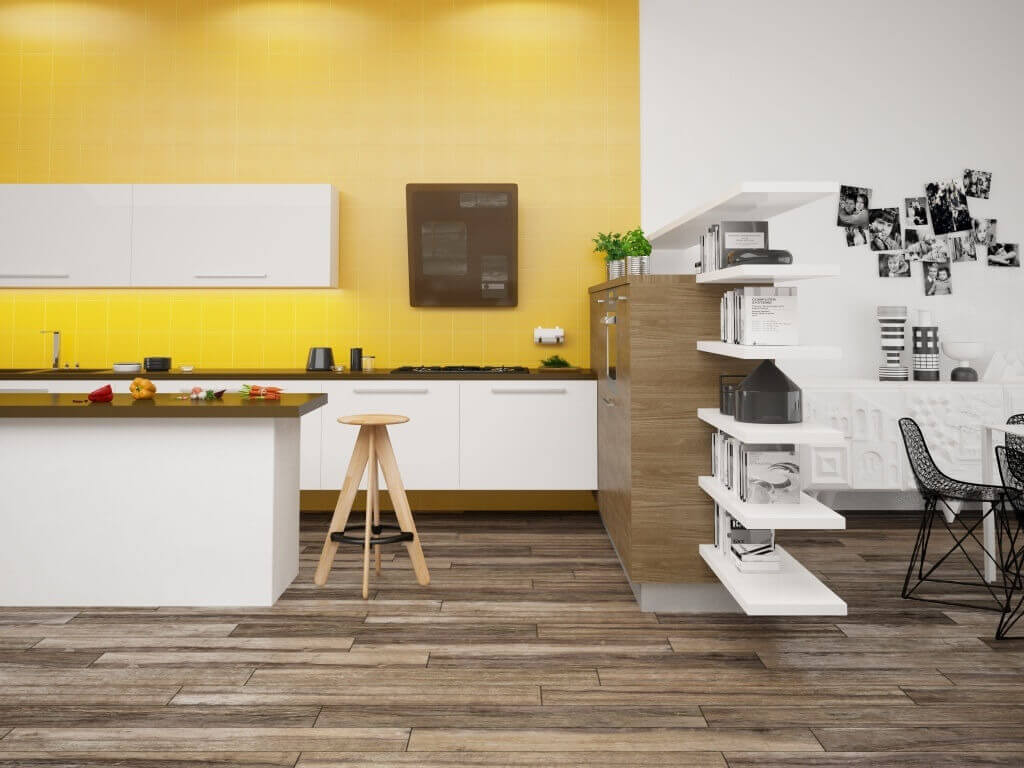 Yellow wall tile with matching yellow grout in a kitchen