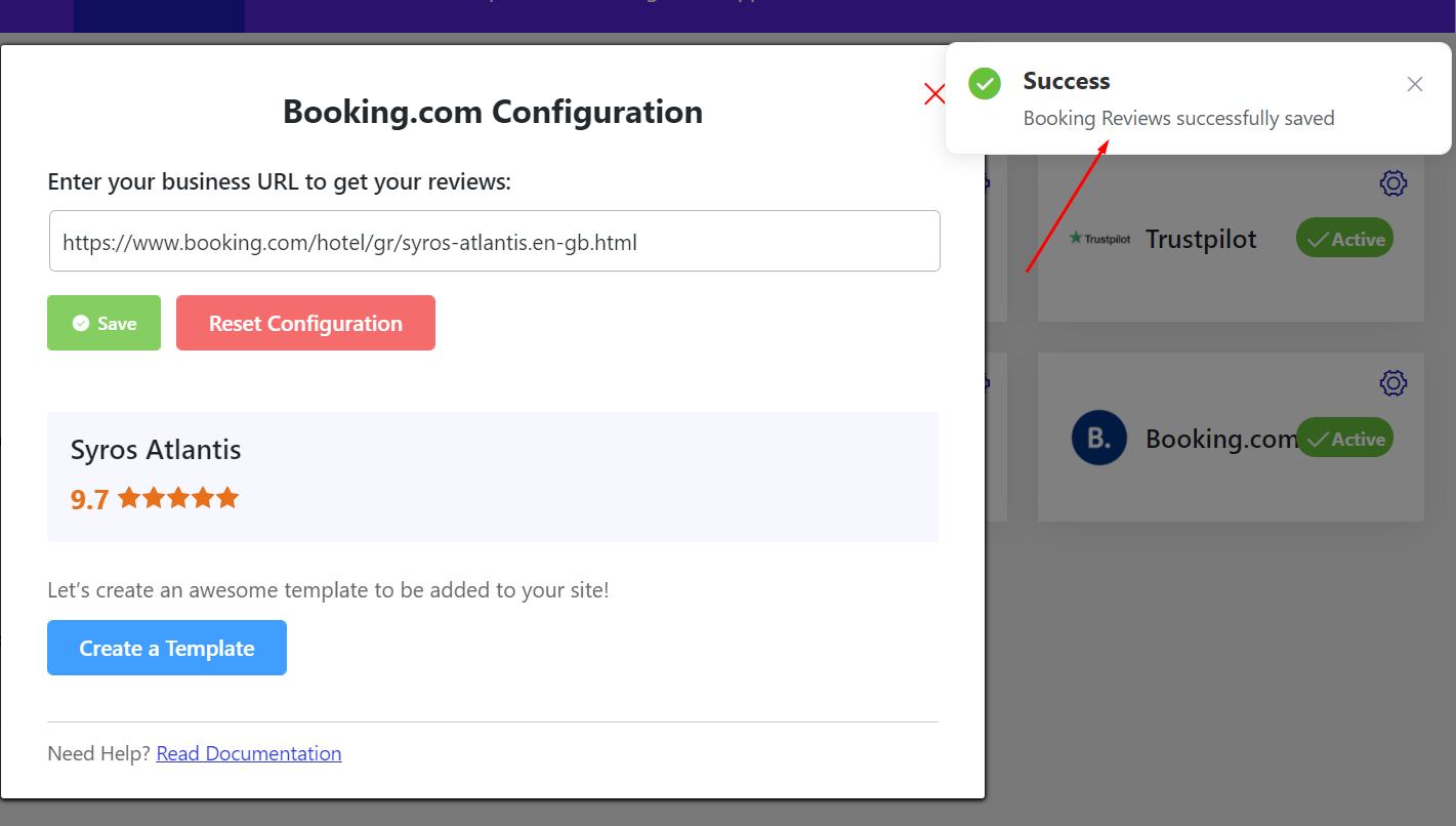 Booking.com reviews successful configuration