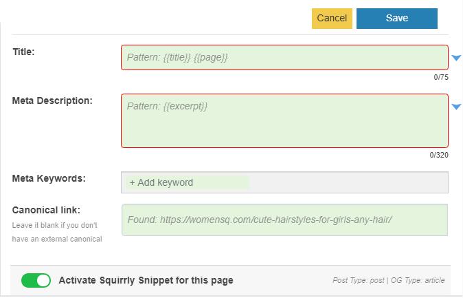 Squirrly SEO plugins checklist