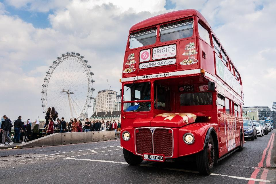 A London red bus serving afternoon tea