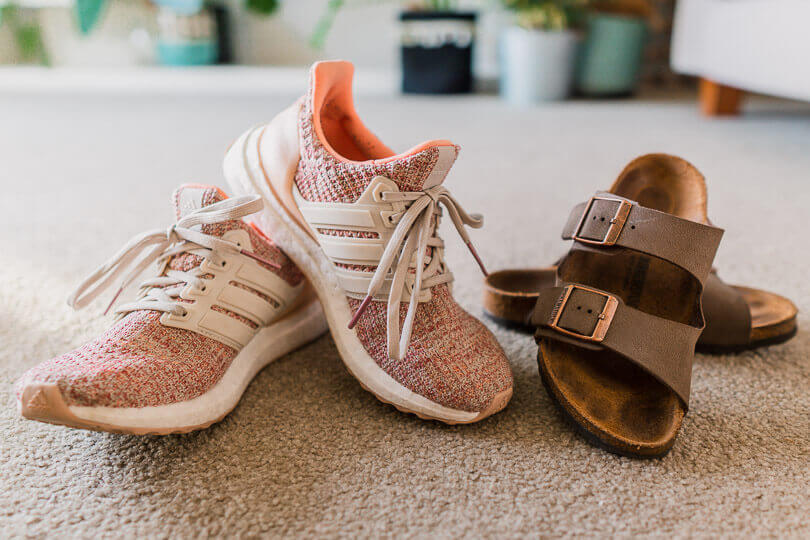 Pink ultra boosts and birkenstocks.