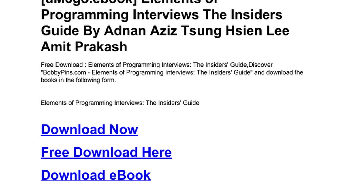 Elements Of Programming Interviews The Insiders Guidec Google Drive