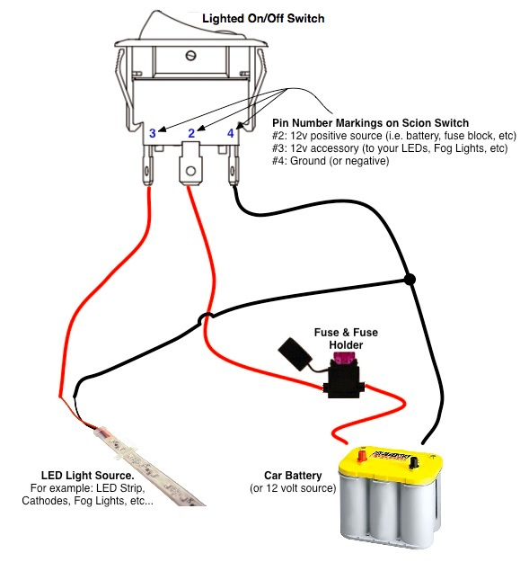 On/Off Switch & LED Rocker Switch Wiring Diagrams | OzniumOznium