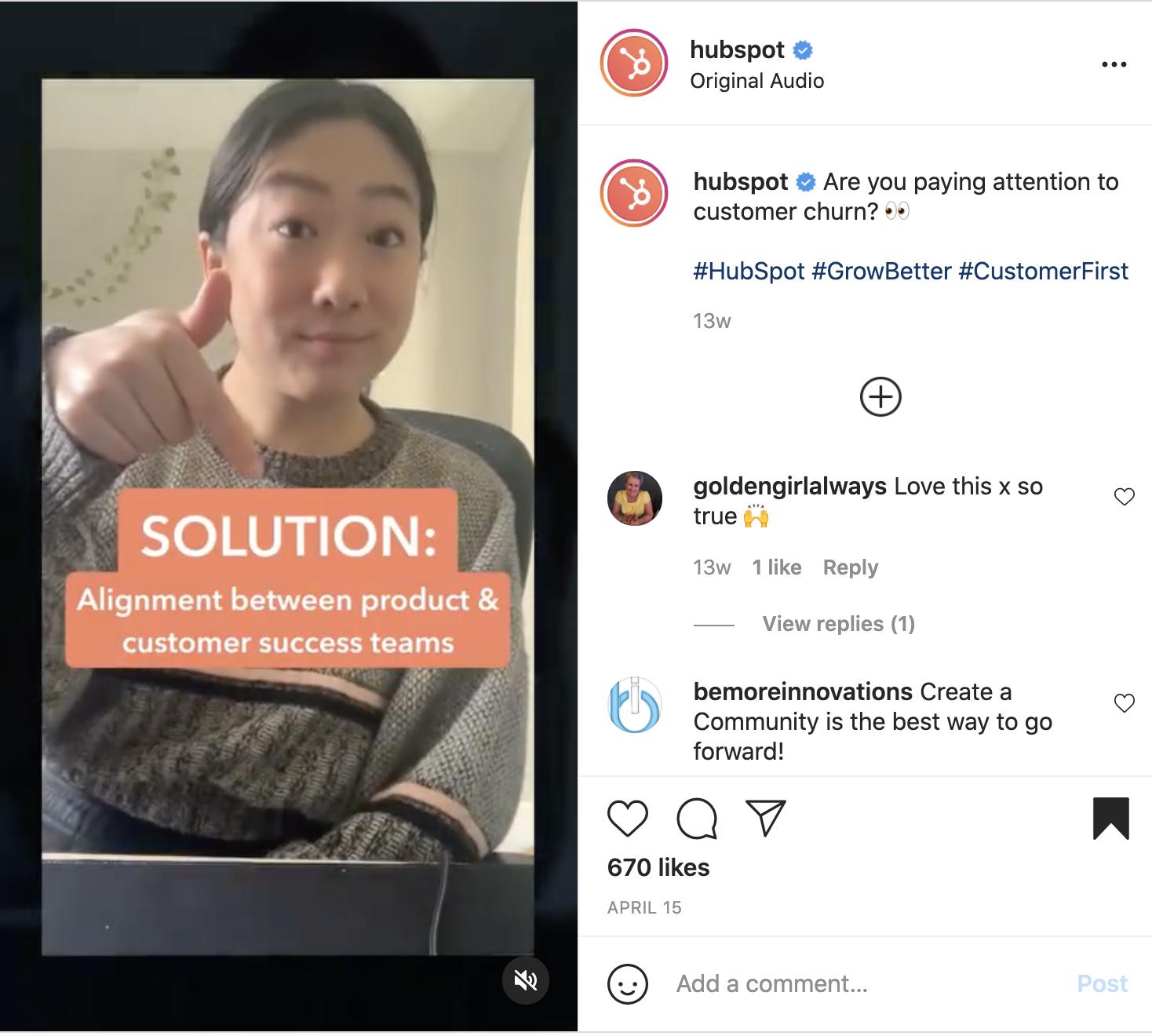 b2b instagram reels example - hubspot