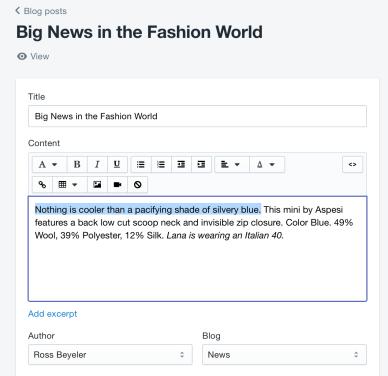 Fare blogging su Shopify
