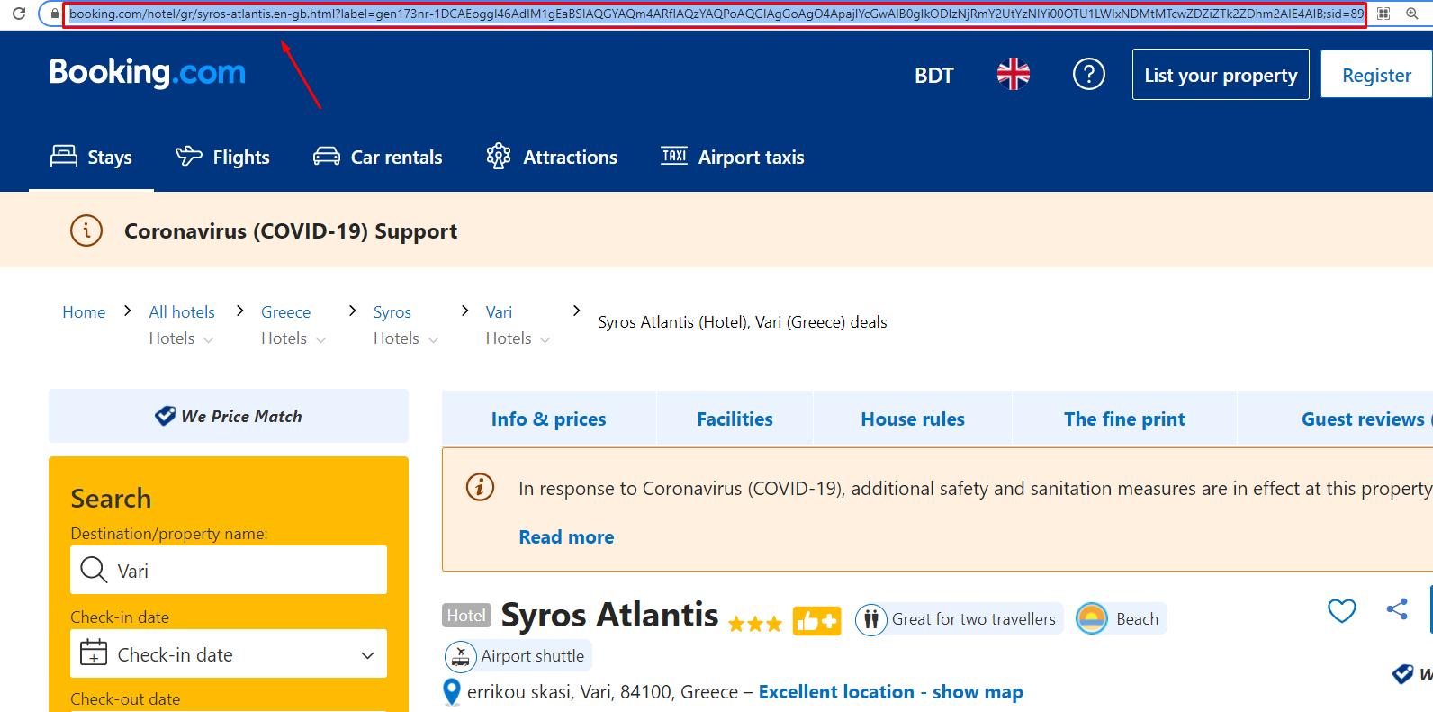 booking.com reviews URL