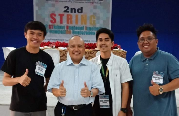 NOTABLE ALUMNI. Montañez (leftmost) and Tapang (3rd from the left) reaping the Best Paper and Presenter and the 3rd Best Paper in the 2nd Student Regional Innovation and Computing (STRING) Conference Computer Science category