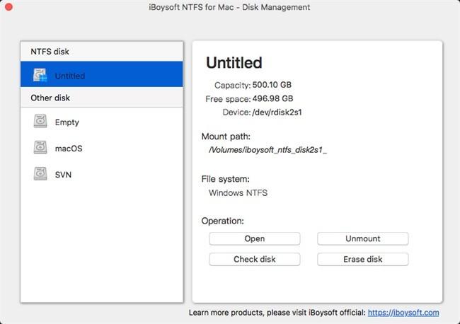 утилита iBoysoft NTFS for Mac