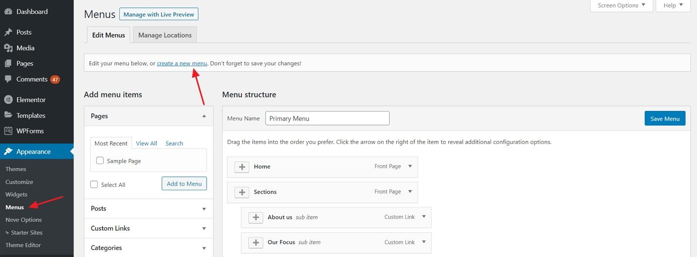 How to create a website: create menu