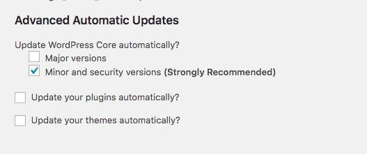 Advanced automatic updates options
