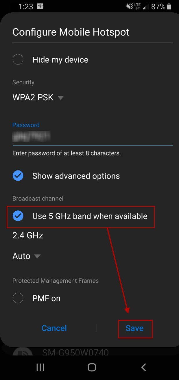 Advanced mobile hotspot settings